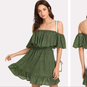 green polka dot ots dress